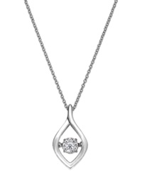 Twinkling Diamond Star Diamond Accent Open Teardrop Pendant Necklace In Sterling Silver