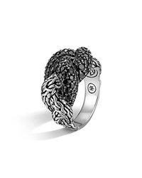 John Hardy Classic Chain Sterling Silver Lava Small Braided Ring Black Sapphire Silver Black