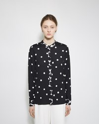 Proenza Schouler Printed Georgette Blouse White And Black Small Dot