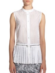 Mcq By Alexander Mcqueen Zipper Detail Peforated Cotton Blouse White