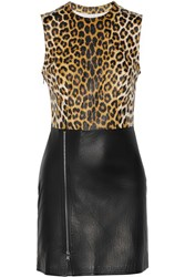 3.1 Phillip Lim Leopard Print Paneled Leather Dress Animal Print
