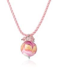House Of Murano Mare Pink Murano Glass Ball Pendant Necklace