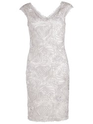 Gina Bacconi Braid Embroidered Dress Silver