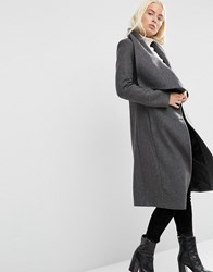 Asos Waterfall Trapeze Coat In Wool Blend Charcoal Grey