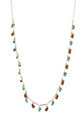 Cara Accessories Beaded Fringe Necklace Blue