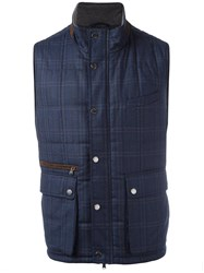 Hackett Plaid Hooded Vest Blue