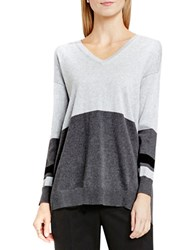 Vince Camuto Long Sleeve V Neck Colorblock Sweater Grey