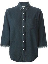 Simon Miller Frayed Denim Shirt Blue