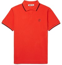 Mcq By Alexander Mcqueen Lim Fit Contrat Tipped Cotton Pique Polo Hirt Red
