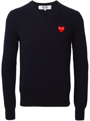 Comme Des Garcons Play Heart Print Sweater Blue