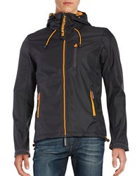 Superdry Hooded Zip Front Jacket Dark Grey