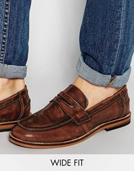 Asos Wide Fit Loafers In Tan Leather Tan