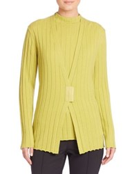 Lafayette 148 New York Cashmere Rib Knit Cardigan Plantain