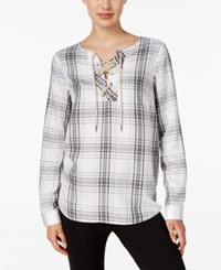 G.H. Bass And Co. Plaid Lace Up Top Only At Macy's Soft White Combo