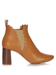 Chloe Lauren Scallop Edged Leather Ankle Boots Light Tan