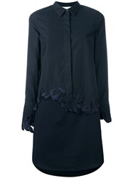 3.1 Phillip Lim Floral Embroidered Shirt Dress Blue