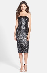Dress The Population 'Olivia' Sequin Strapless Midi Dress Black Silver