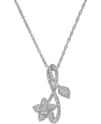 No Vendor Diamond Flower Pendant Necklace 1 4 Ct. T.W. In Sterling Silver
