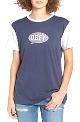 Obey Women's 'Small Talk' Screenprint Ringer Tee