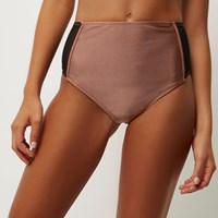 River Island Womens Brown Mesh High Rise Bikini Bottoms