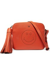Anya Hindmarch Smiley Perforated Leather Shoulder Bag Bright Orange