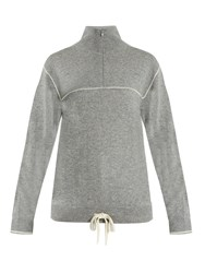 Chloe Half Zip Cashmere Sweater Grey White