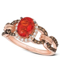 Le Vian Fire Opal 5 8 Ct. Diamond And Chocolate Diamond 3 8 Ct. T.W. Link Ring In 14K Rose Gold