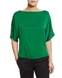 Milly Dolman Sleeve Silk Blend Blouse Emerald