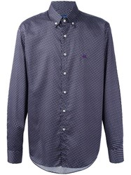 Etro Checked Embroidered Logo Shirt Purple