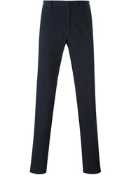 Z Zegna Concealed Button Chino Trousers Blue