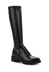 Lost Ink Gripe Stretch Monk Strap Knee High Boots Black