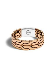 John Hardy Classic Chain Bronze And Silver Band Ring Rose Gold