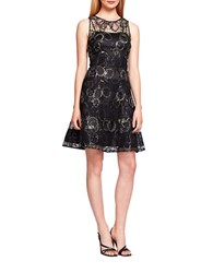 Kay Unger Metallic Fit And Flare Dress Black Gold