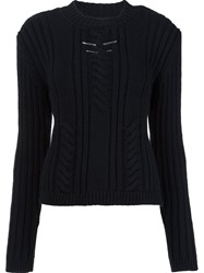 Thierry Mugler Chest Metallic Detail Pullover Black