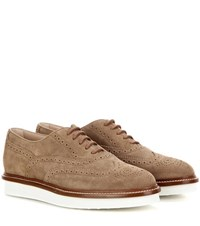 Tod's Gomma Suede Brogues Brown