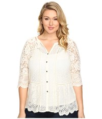 Lucky Brand Plus Size Lace Mix Top Birch Women's Clothing Brown