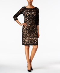 Tadashi Shoji Three Quarter Sleeve Lace Dress Black Nude