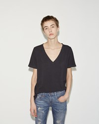 R 13 Low V Neck Tee Washed Black