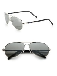Montblanc 61Mm Aviator Sunglasses Silver Grey