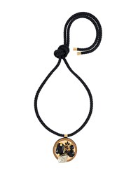 Marni Embellished Circle Pendant Necklace Black