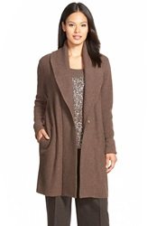 Lafayette 148 New York Ribbed Wool Long Shawl Collar Cardigan Maple Melange