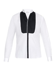Mathieu Jerome V Neck Collar Pleated Bib Cotton Shirt