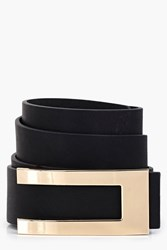 Boohoo Metal Plate Detail Belt Black