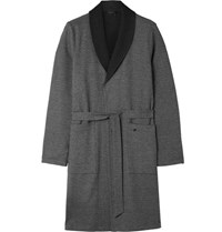 Hanro Davide Double Faced Bruhed Cotton Robe Charcoal