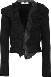 Valentino Leather Trimmed Ruffled Wool Blend Jacket Black