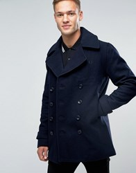Fred Perry Peacoat In Wool In Navy Navy