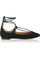 Chloe Lace Up Suede Ballet Flats