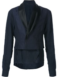 Haider Ackermann Shawl Collar Cropped Blazer Blue