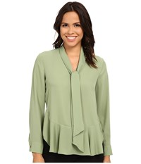 Vince Camuto Tie Neck Ruffle Hem Blouse Watercress Women's Blouse Green