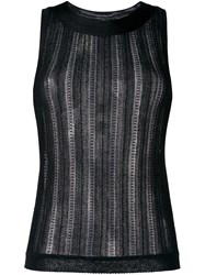 Missoni Striped Sheer Sleeveless Blouse Black
